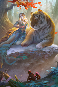 1242x2688 Fantasy Girl With Tiger