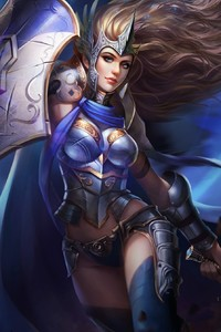 480x800 Fantasy Warrior Girl With Shield And Sword