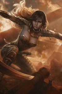 320x568 Fantasy Warrior Girl With Sword