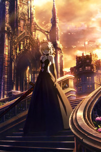360x640 Fate Stay Night Anime Girl Walking Through Stairs