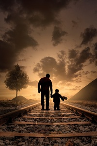 Father Son Walking Railraod