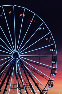540x960 Ferris Wheel Sunset Clouds 5k