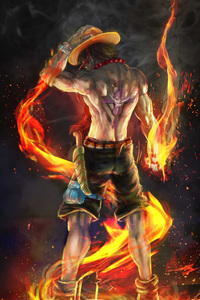 480x854 Fire Fist Ace 4k Artwork