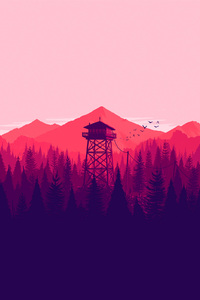 1080x1920 Firewatch Landscape Fire Lookout Tower