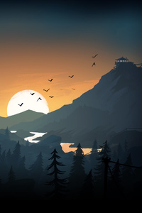 320x480 Firewatch Sun Trees Mountains Birds Lake Evening