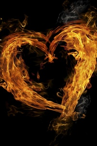 240x400 Flame Glowing Heart 5k
