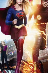 1080x2280 Flash And Supergirl 2018