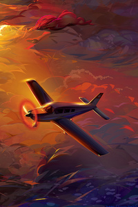 1440x2560 Flying Plane In Clouds Artwork HD
