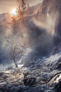 1080x1920 Fog Nature Sunbeam Waterfall Winter