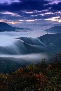 240x400 Foggy Clouds Covering Mountains 4k