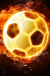 750x1334 Football Soccer Fire Ball 4k