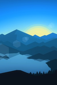 480x854 Forest Mountains Sunset Cool Weather Minimalism