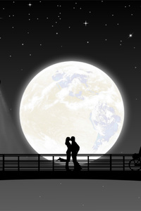 800x1280 Full Moon Night Couple Kiss
