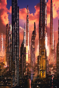 1125x2436 Futuristic City Tall Buildings Concept Art 4k