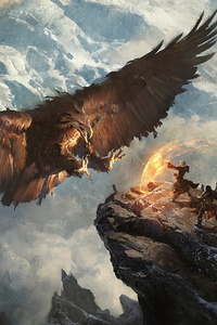 480x800 Giant Eagle Vs Knight Mage Mountains Fantasy Landscape