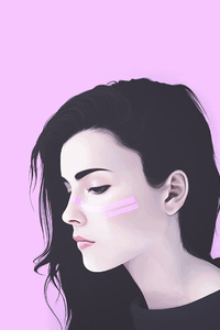 320x568 Girl Artwork Pink Background