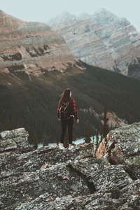 480x854 Girl At Tip Of Mountain