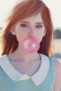1242x2688 Girl Blowing Bubble Gum