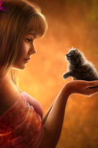 Girl Holding Small Cat In Hand Artwork
