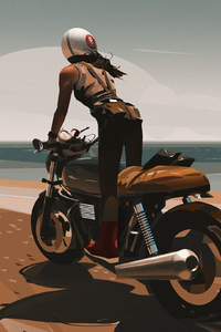 1080x1920 Girl On Bike Digital Art