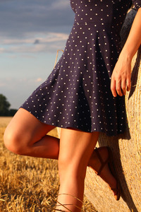 320x480 Girl Standing In A Field Wearing Polka Dot Dress