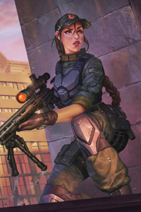 480x854 Girl With Big Gun Artwork