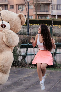 540x960 Girl With Big Teddy Bear On Swing