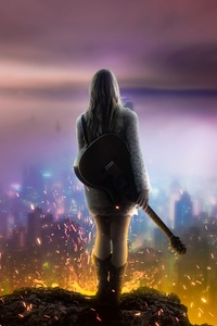 Girl With Guitar Watching City From Top