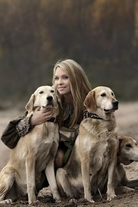 Girl With Labradors