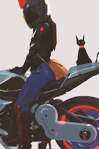 1440x2960 Girl With Modified Bike Cat Artwork