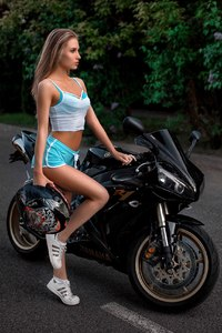 Girl With Yamaha R1 Motorcyle