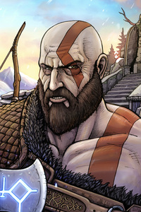 240x400 God Of War 10k Artwork