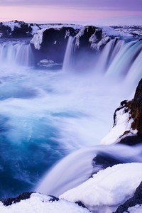 1440x2960 Godafoss Falls Waterfall Snow