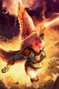 1080x1920 Gold Angel Fantasy Girl With Wings 4k