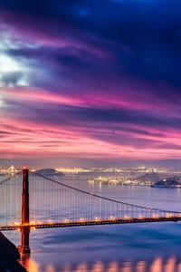 320x480 Golden Gate Bridge Sunset Night Time 4k Hd