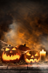 240x320 Halloween Candle And Pumpkins