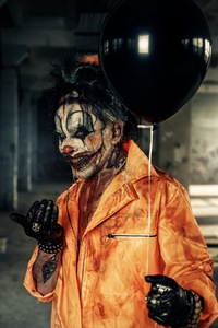 1080x2280 Halloween Guy With Balloon 4k