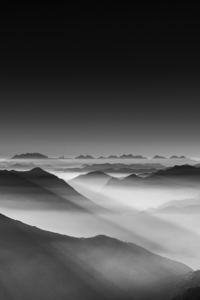 640x1136 Haze Mountain Landscape Monochrome 5k