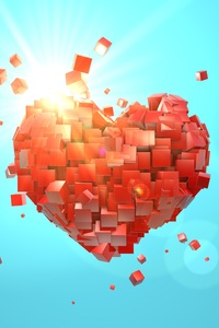 320x568 Heart Explosion Love Red Abstract Valentine Day