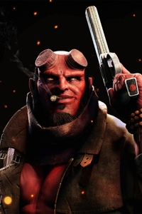 640x960 Hellboy Smoking Cigarette With Gun