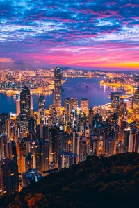 2160x3840 Hong Kong City View Buildings Light Night