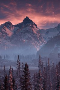 Horizon Zero Dawn Nature Mountains Trees Sky 4k
