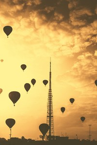 480x800 Hot Air Balloons Tower Orange Contrast Clouds 5k