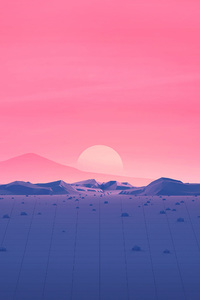 480x800 Hotizons Sunset Polygon Surface Mountains 4k Minimalism