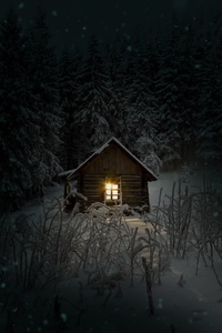 240x320 House In Woods Winter Cold