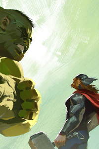 Hulk And Thor Artwork