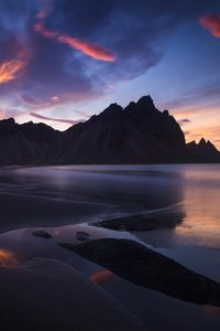 Iceland Rocks Mountains Sunset Landscape 5k
