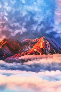 640x1136 Illustration Artwork Sky Mountains Clouds 4k