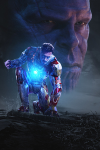 320x480 Iron Man And Thanos In Avengers Infinity War