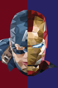 640x1136 Iron Man Captain America Abstract